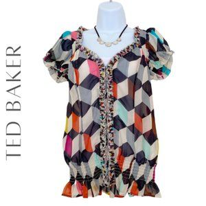 TED BAKER Colorful Block Print Top, XS